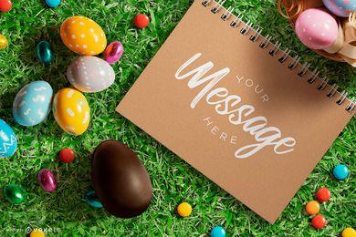 Composición de maqueta de cuaderno de Pascua