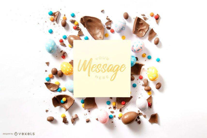 Easter card mockup composition