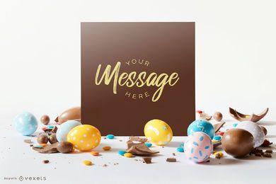 Composición de maqueta de tarjeta de huevos de Pascua