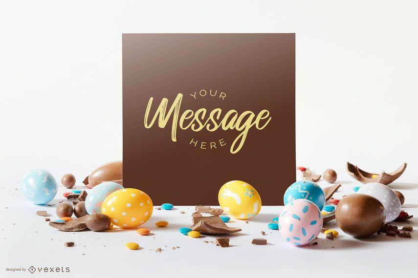 Composição de maquete de cartão de ovos de Páscoa
