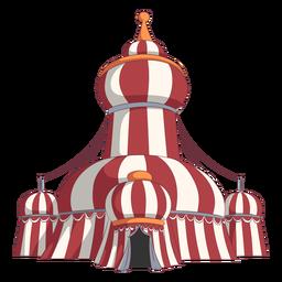 Tendas de circo em volta do telhado