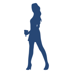 Cocktail girl pose silhouette