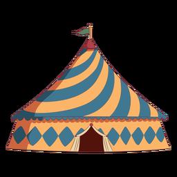 Tenda de circo com telhado triangular colorido