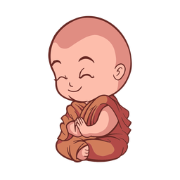 Cute praying monk