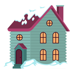 Cute snowed house