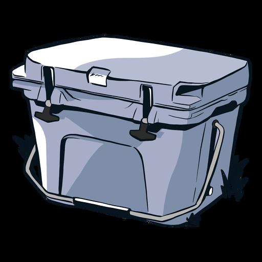 Desenhada refrigerador na grama