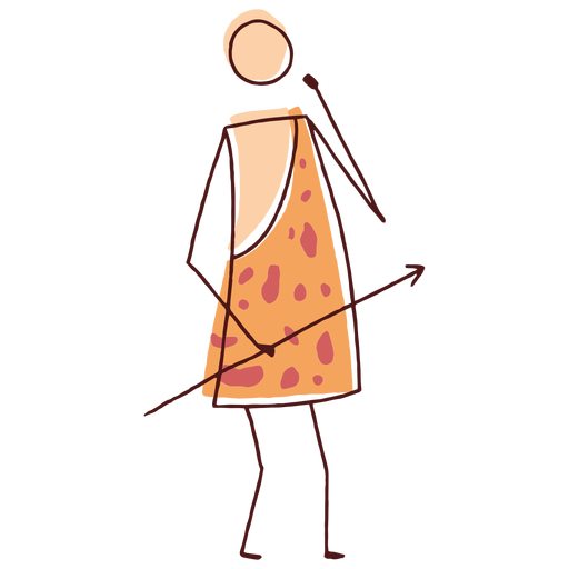 Drawn stick caveman