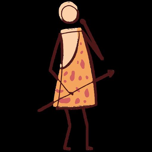 Hombre de las cavernas de palo dibujado
