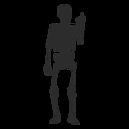 Olhando para a silhueta de esqueleto de dedos
