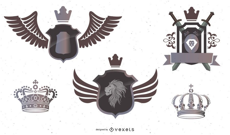 3 Heraldry Crests with Crowns, Lions, Banners