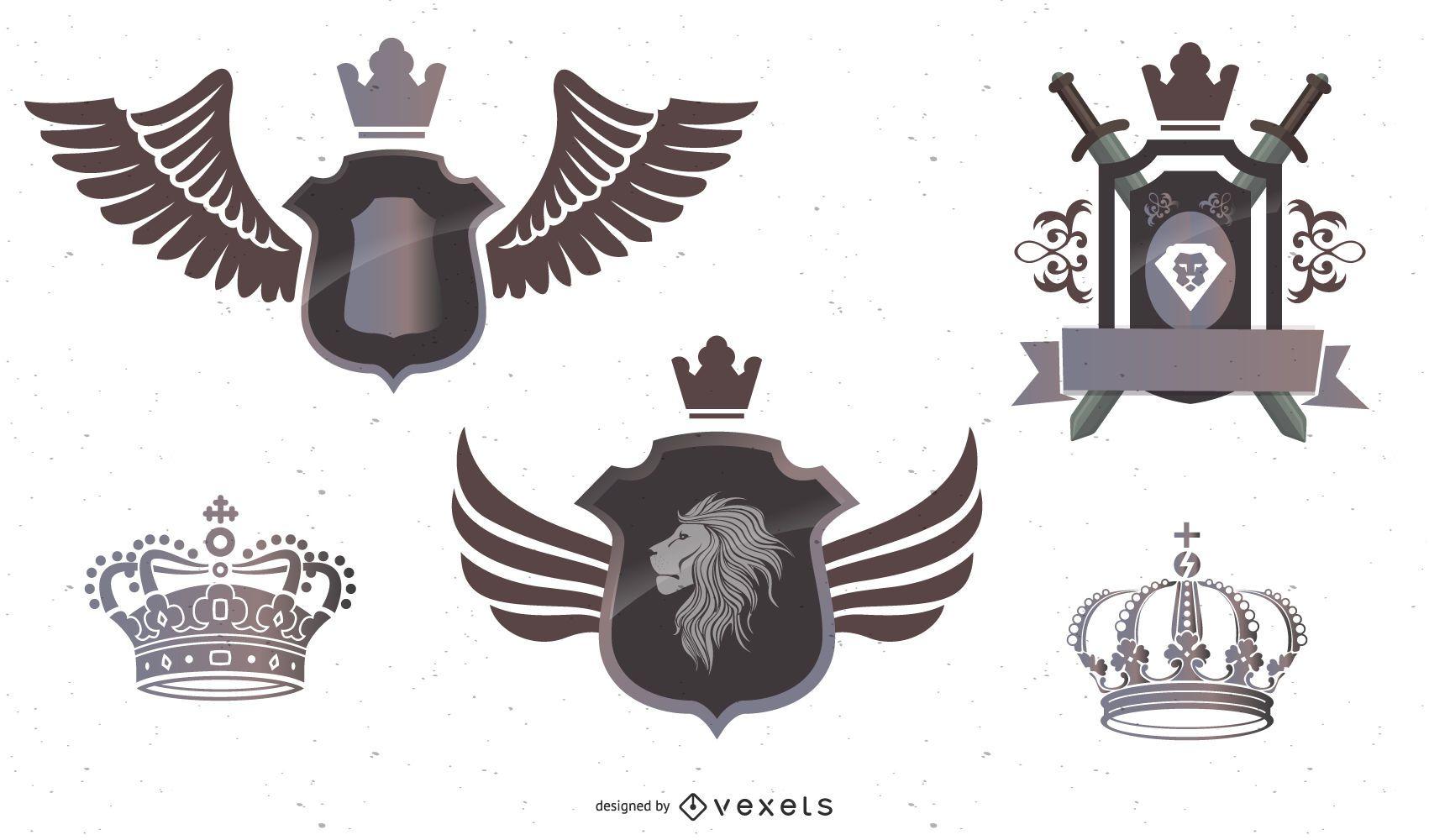 3 escudos heráldicos con coronas leones pancartas