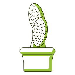 Oblong leaves cactus illustration