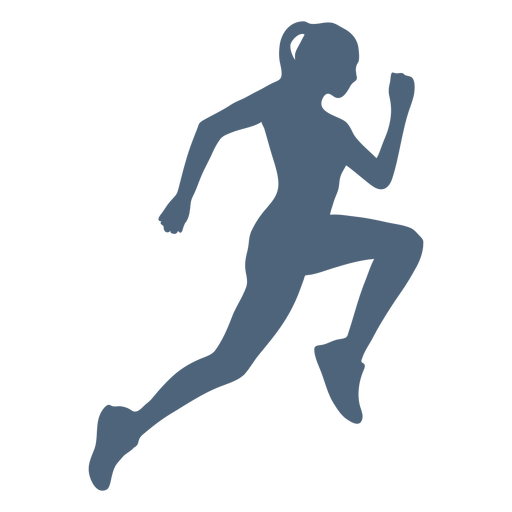 Side view running girl silhouette Transparent PNG