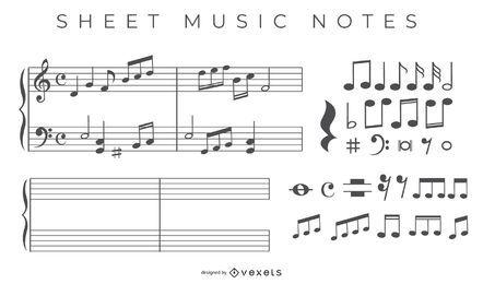 Vectores de notas de partituras gratis