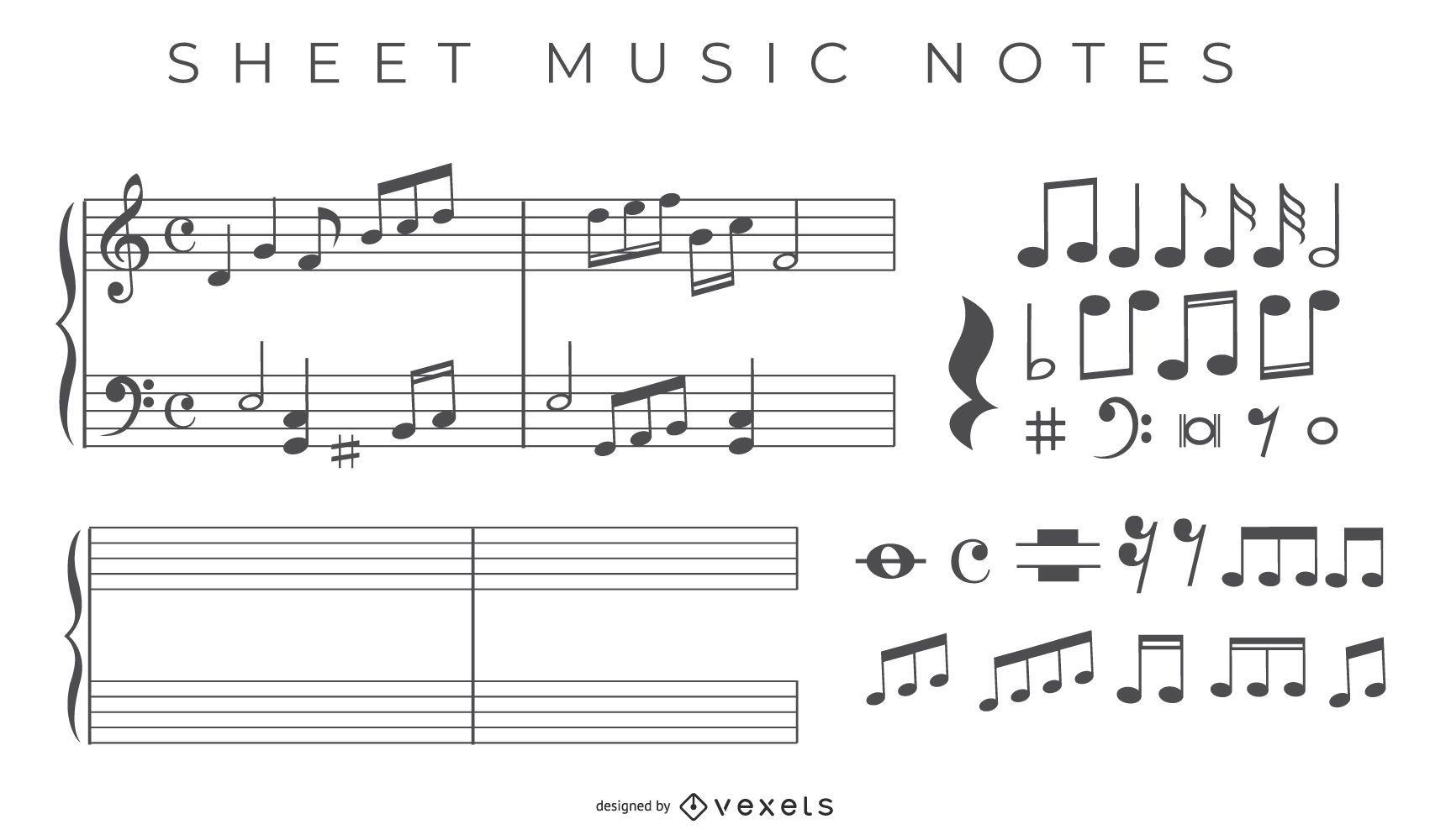 Sheet Music Note Vectors- Free