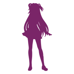 Standing anime girl silhouette