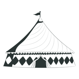 Tenda de circo com telhado triangular