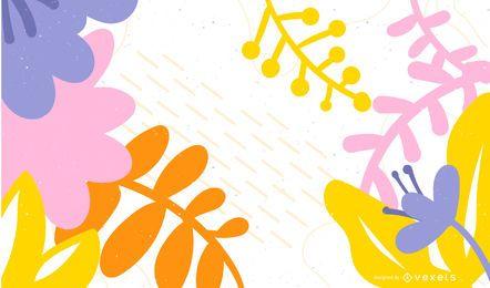 Design de fundo colorido folhas