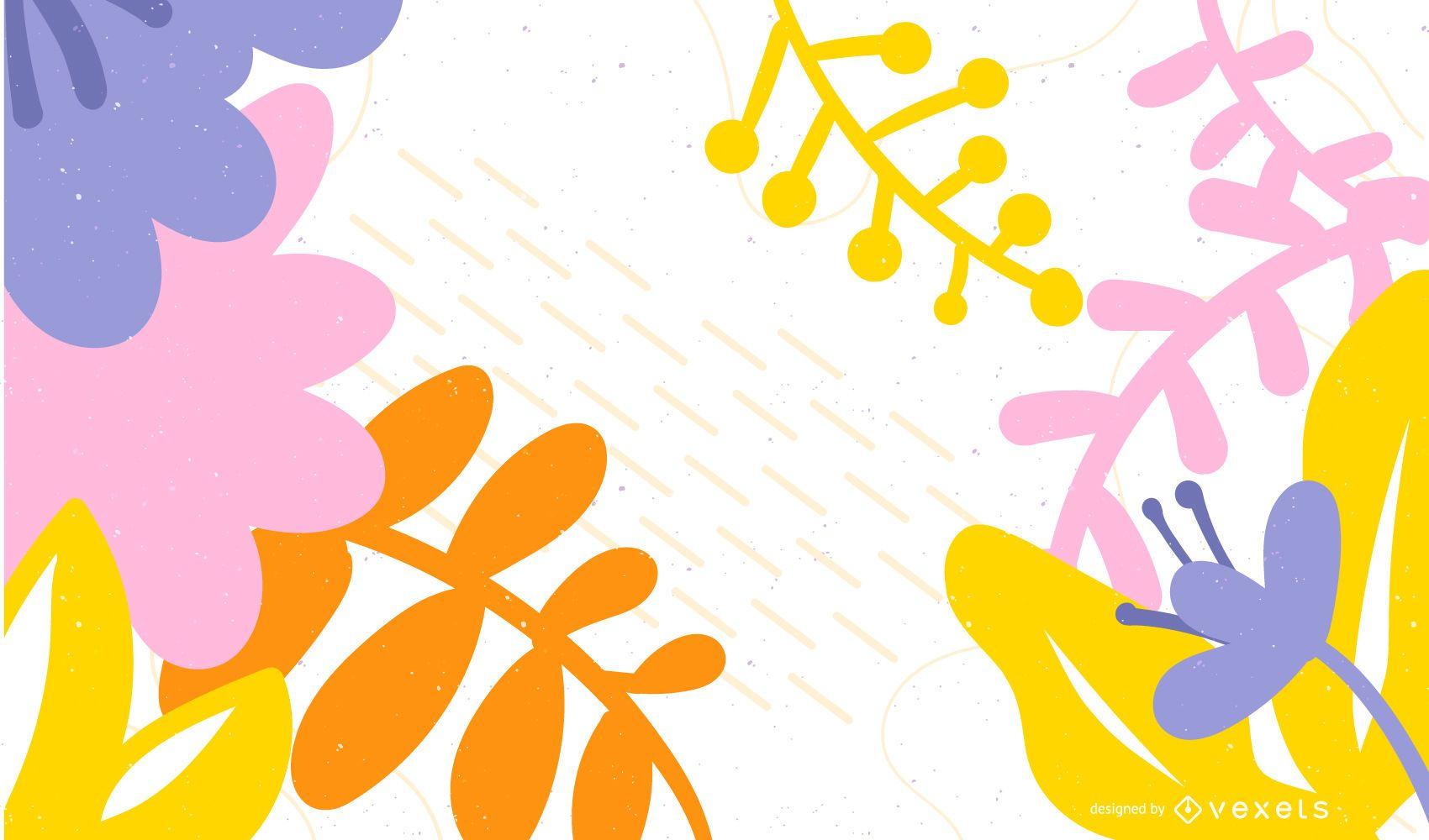 Diseño de fondo de hojas coloridas