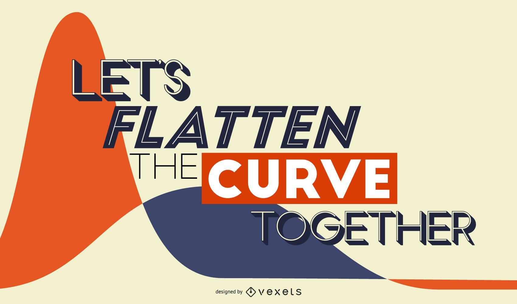 Flatten the curve covid lettering