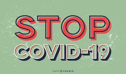 Detener el diseño de letras covid-19