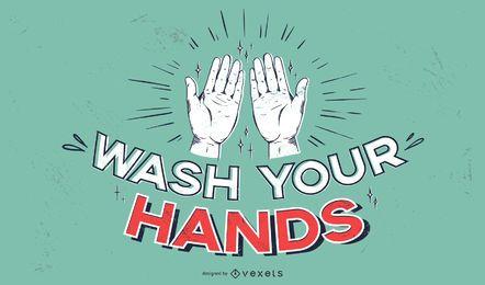Waschen Sie Ihre Hände Covid Schriftzug