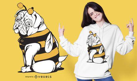 Diseño de camiseta de perro Bee Pug
