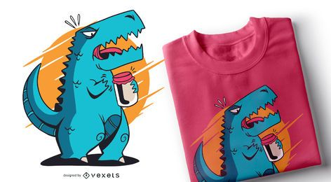 Diseño de camiseta T-rex Opening Jar