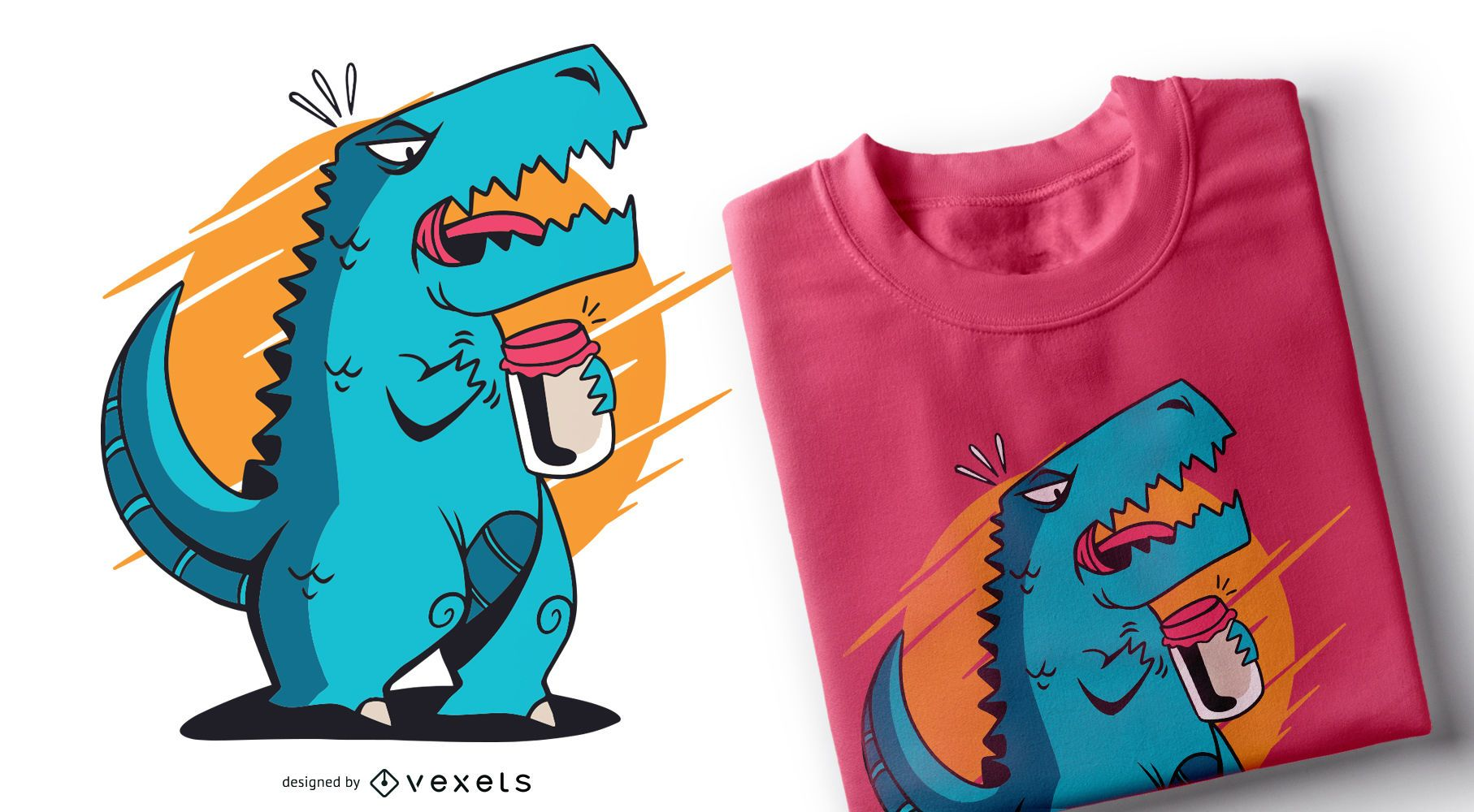Dise?o de camiseta T-rex Opening Jar