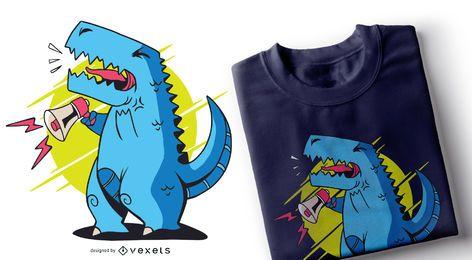 Diseño de camiseta de megáfono T-rex