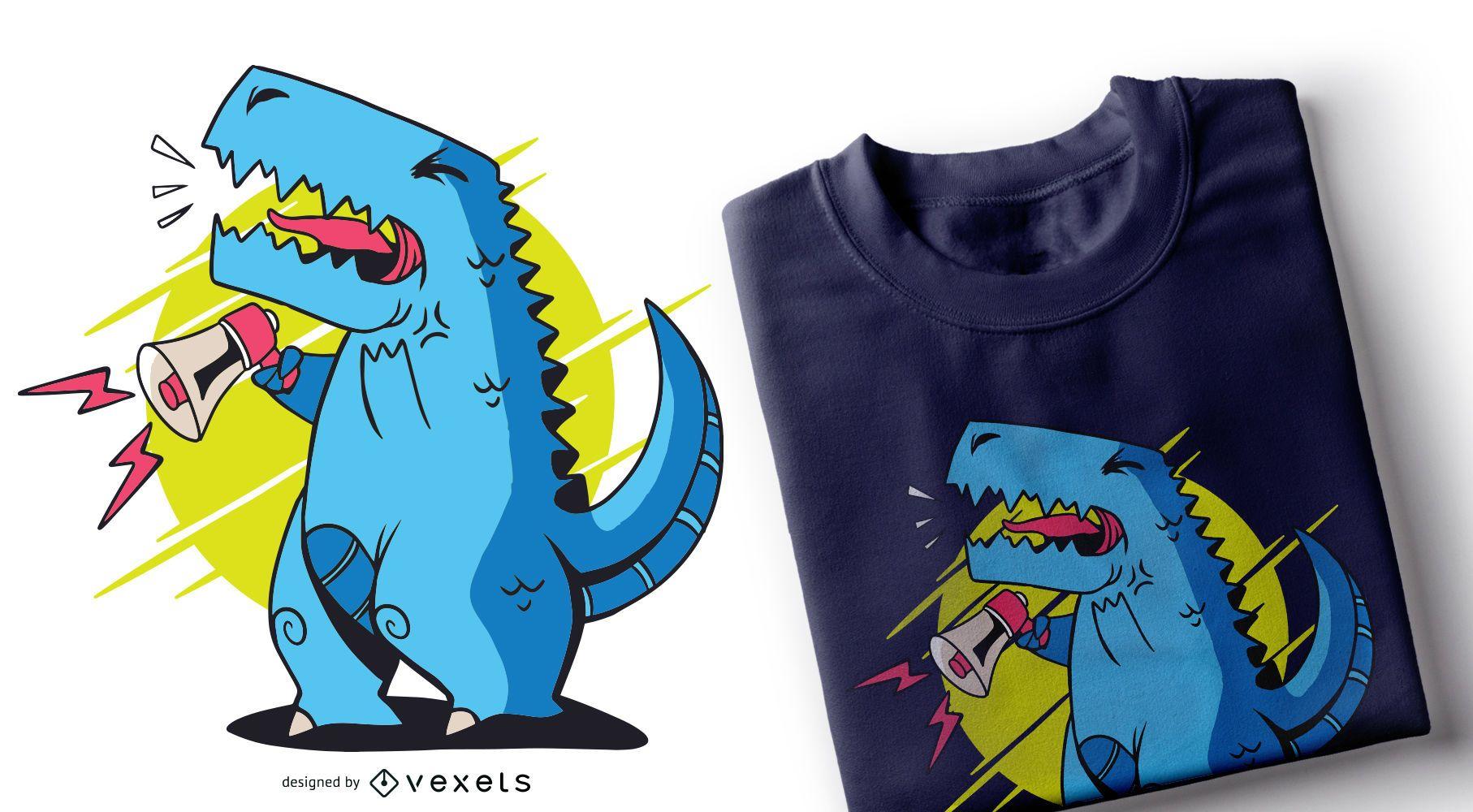 Dise?o de camiseta T-rex Megaphone
