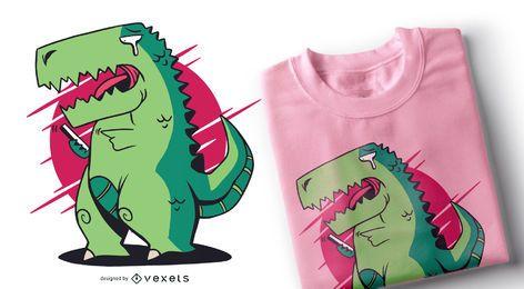 Diseño de camiseta de teléfono inteligente T-rex