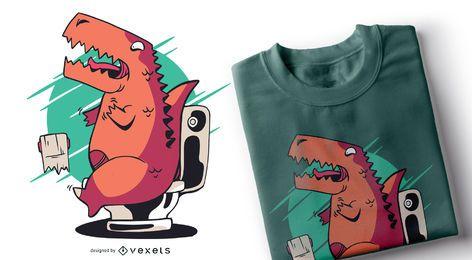 Diseño de camiseta de papel higiénico T-rex