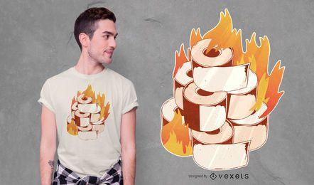 Design de t-shirt de papel higiênico ardente