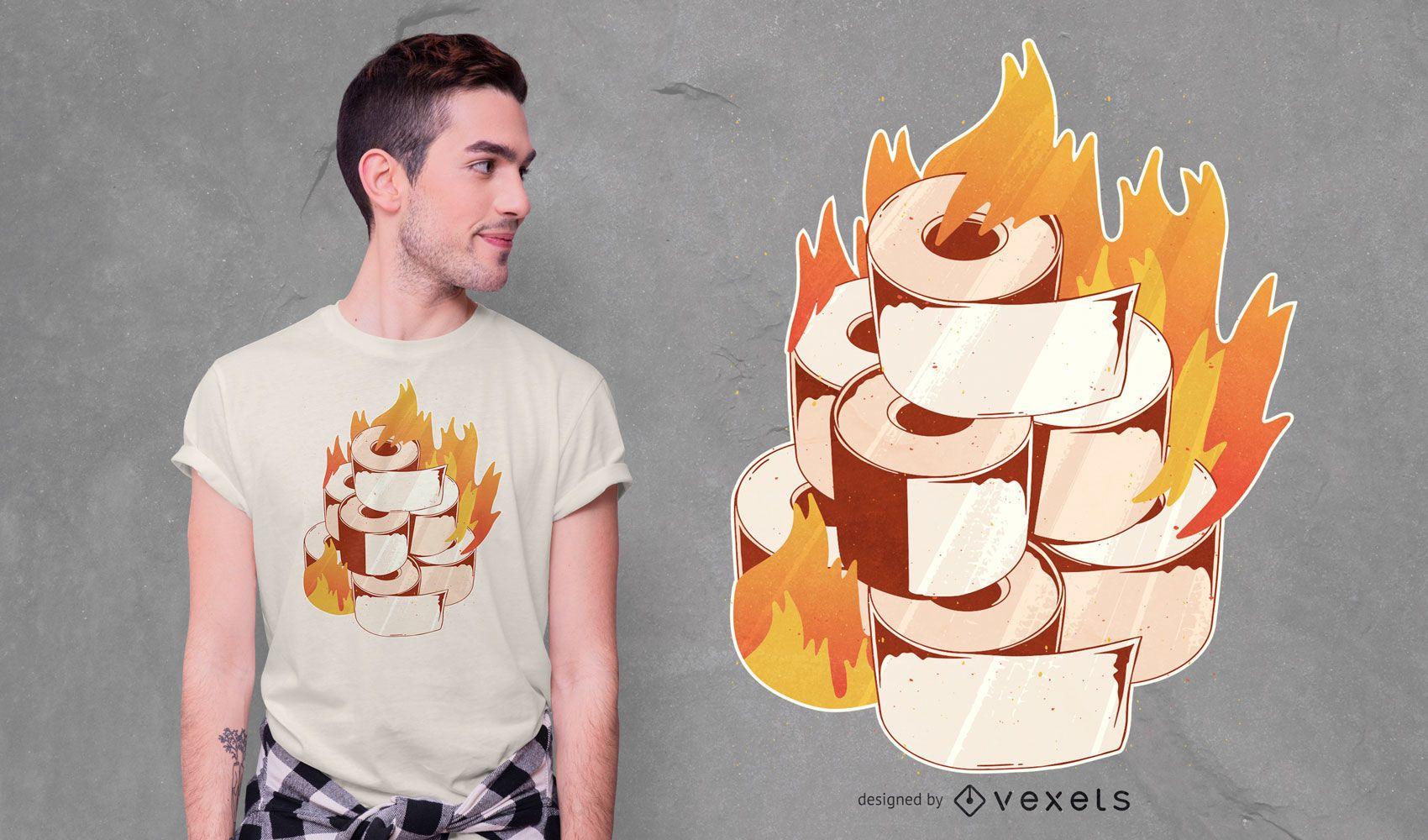 Diseño de camiseta de papel higiénico ardiente
