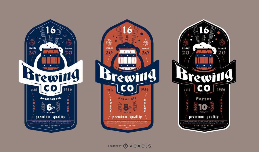 Paquete de diseño de etiquetas de cerveza