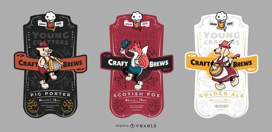 Conjunto de etiqueta de cerveja artesanal
