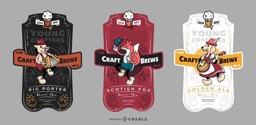 Conjunto de etiquetas de cerveza artesanal