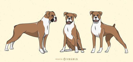 Conjunto de ilustração de cachorro boxer