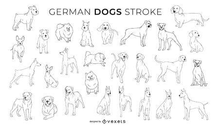 Colección de diseño de trazo de perros alemanes