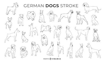 German Dogs Stroke Design Collection