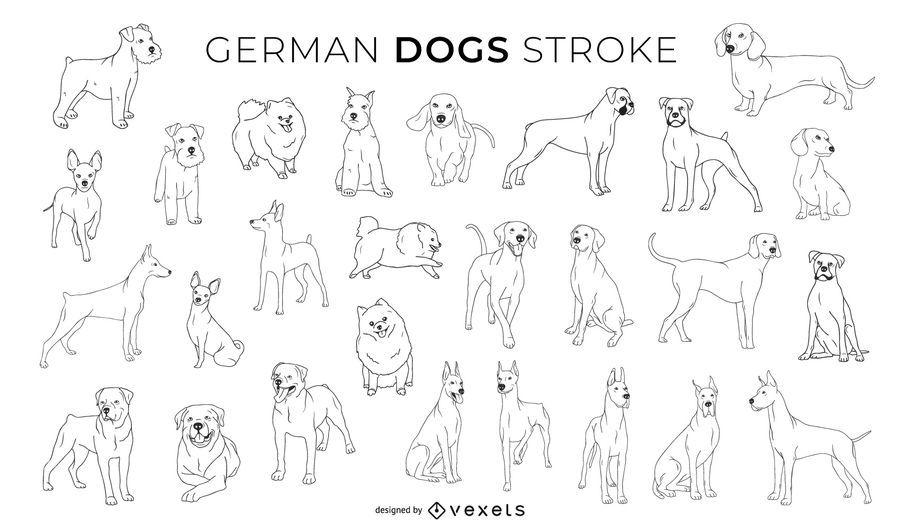 Coleção de design de traços de cães alemães