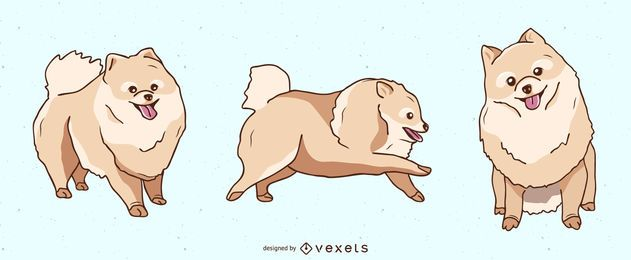 Conjunto de ilustração de cachorro Pomeranian