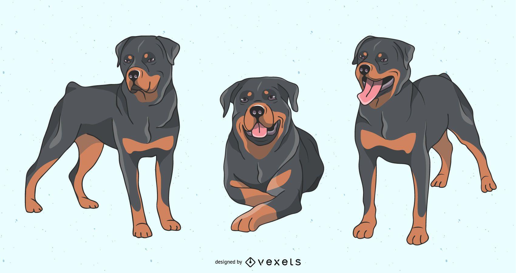 Conjunto de ilustración de perro rottweiler