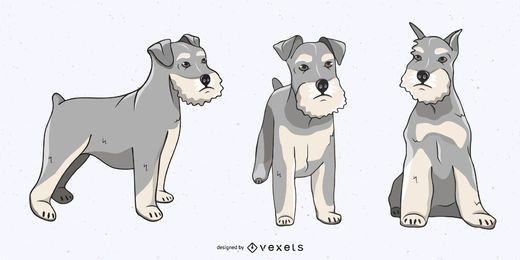 Conjunto de ilustración de perro Schnauzer