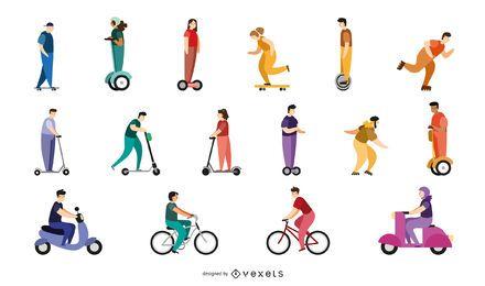 Pacote de caracteres de transporte de pessoas planas