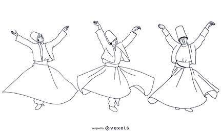 Paquete de bailarines turcos estilo trazo