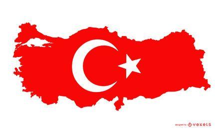 Diseño de bandera de silueta de Turquía