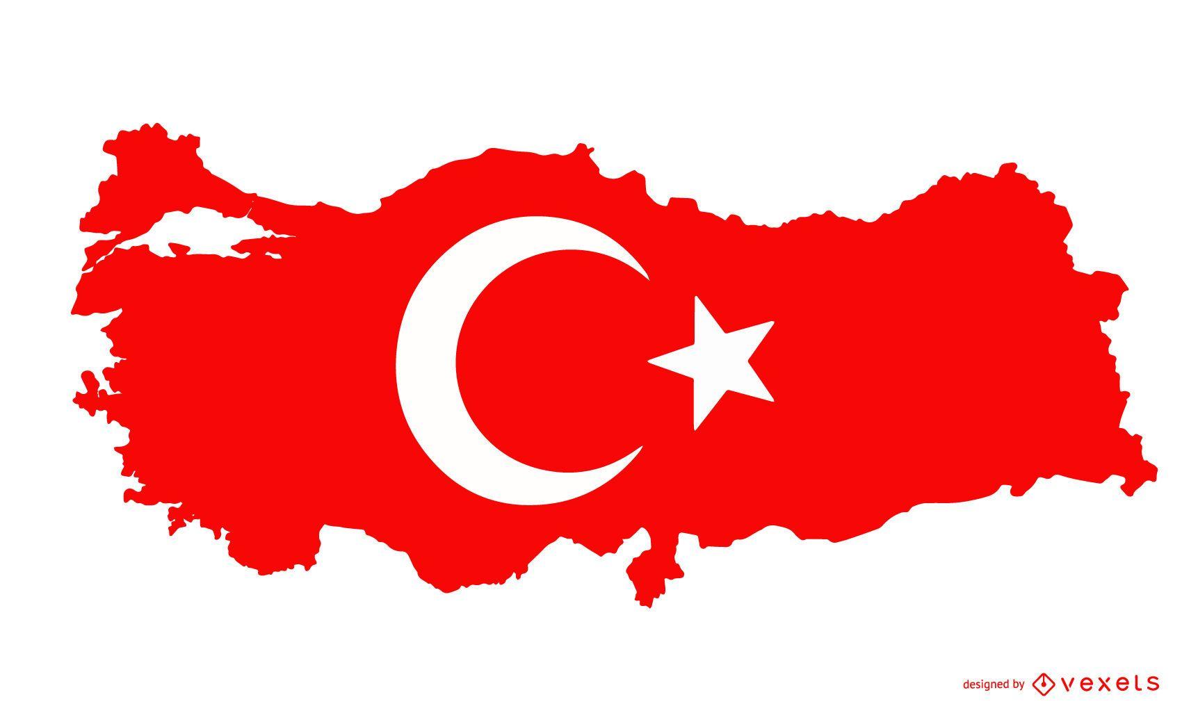 Projeto da bandeira da silhueta da Turquia