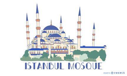 Ilustración de la mezquita azul de Estambul